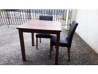 Dark Brown small dining table & 2 leather look dark brown chairs
