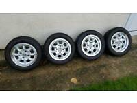 set of 4 classic mini 12 inch alloy wheels and tyres