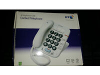 BT BIG BUTTON 100 CORDED TELEPHONE WHITE WITH WALL MOUNTING