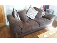 Harveys 3 seater cushion scatterback sofa, large armchair and large storage footstool
