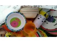 Job lot of kids plates, bowls and cups