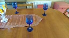 Blue water glasses