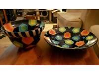 BARGAIN BOWLS - Pair of Large Painted Ceramic Bowls