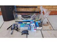 Fish Tank Aquarium pump water heater gravel lid all accessories