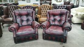 Stunning oxblood leather chesterfield pair of chairs UK delivery CHESTERFIELD LOUNGE