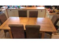 Dining room table and 6 chairs old creamery