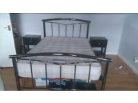 Double bed, mattress and bedside tables