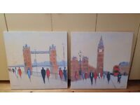 Set of two canvases of London landmarks bought from NEXT.