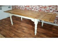 Farmhouse Rustic Extendable Kitchen Dining Table Turned Leg Painted Finish - Seats up 12