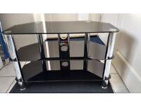 """Black Glass & Chrome, TV Table for TV's upto 48"""""""