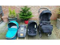 Mamas and Papas Urbo pushchair, car seat +isofix, carrycot