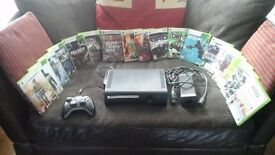 Xbox 360 120gb console with powerpack and controler with 18 games