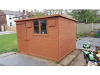 Garden Shed 10ftx8ft (3mx2.5m) wooden shed Single Door with Pent roof.