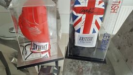 2 signed boxing gloves, Mike Tyson, Joe Calzaghe, carl Froch, Nigel Benn, Chris Eubank Snr