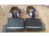 BUSH 2 DVD mobile players and audio headphones