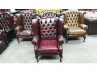 Stunning oxblood leather chesterfield queen Anne wingback chair UK delivery CHESTERFIELD LOUNGE