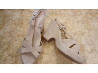 Ladies biege Summer wedge heeled sandals