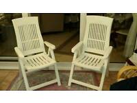 2X Patio Garden Reclining High Backed Chairs