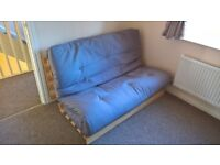 Kyoto Mito Double Futon Grey with Natural Wood Good Condition