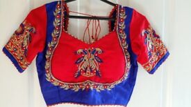 Indian/asain peacock red/blue choli/lengha outfit
