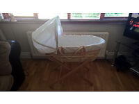 Mamas and Papas Moses Basket with Stand and Bedding - excellent condition