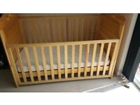 Child cot bed light brown wood