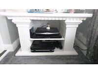large roman pillar tv stand and tall unit both has been painted white