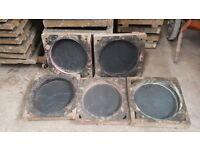 300mm riven circle paving slab moulds tiles concrete flags