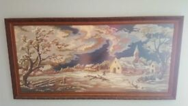 (2x) Large tapestry pictures in dark wood picture frames and matt glass