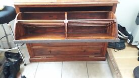 Solid oak antique wood shoe draws /cupboard