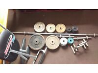 Weights 110kg with olympic bench with bars and extras