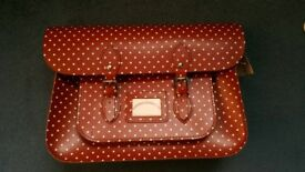 Brand new red polka dot leather satchel