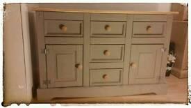 Solid pine painted 2 door 5 drawer sideboard
