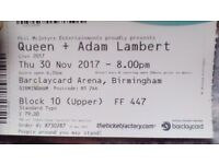 £79, Queen+Adam Lambert, 1 seated ticket, 30 nov2017, 8pm, Barclaycard arena Birmingham
