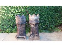 Victorian chimney pots x2, (1 damaged) £40 for the pair. Excellent garden feature