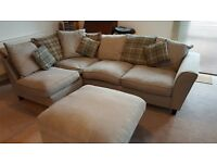 Immaculate Condition 6 month old Corner Suite, with Scatter Cushions and Foot Stool