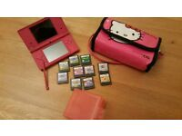Nintendo DSi Pink inc Case and 10 Games
