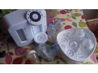 Tommee Tippee Perfect Prep Machine White Baby Bottle Warmer In 2 Mins & microwave steriliser.