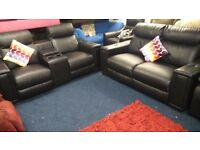 BLACK Leather*2 x 2 seater sofas*reclines/massages*cold drinks holder*i pod station*