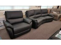 Teo Black Leather 4 Seater Curved Sofa & XL Armchair Can Deliver
