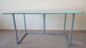 Habitat Nic glass desk 140 x 80cm with steel trestles