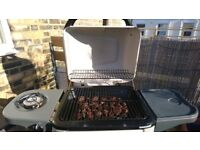 Lava Rocks Trolley BBQ with Side Burner Very Good Condition
