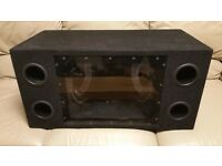 CAR DOUBLE SUBWOOFER 1100 WATT 2 x 10 INCH SPEAKERS WITH ENCLOSURE BANDPASS BASS BOX SUB WOOFER