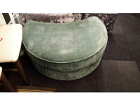 TEAL QUALITY CHENILLE FABRIC HALF MOON FOOT STOOL