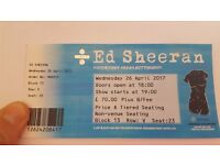 Ed Sheeran ticket - Weds 26th April - Motorpoint Arena Nottingham - Seated Block 13 Row V