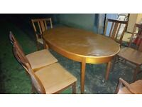 Extendable retro dining table with 6 chairs