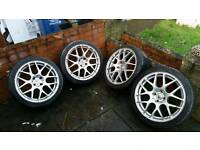 Alloy wheels 17 inch 4 matching 205 40 17 tires 4x100