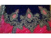 velvet pink and navy blue sari