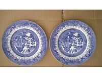 Two Old Willow plates