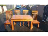 Soild wood table and 4 chairs